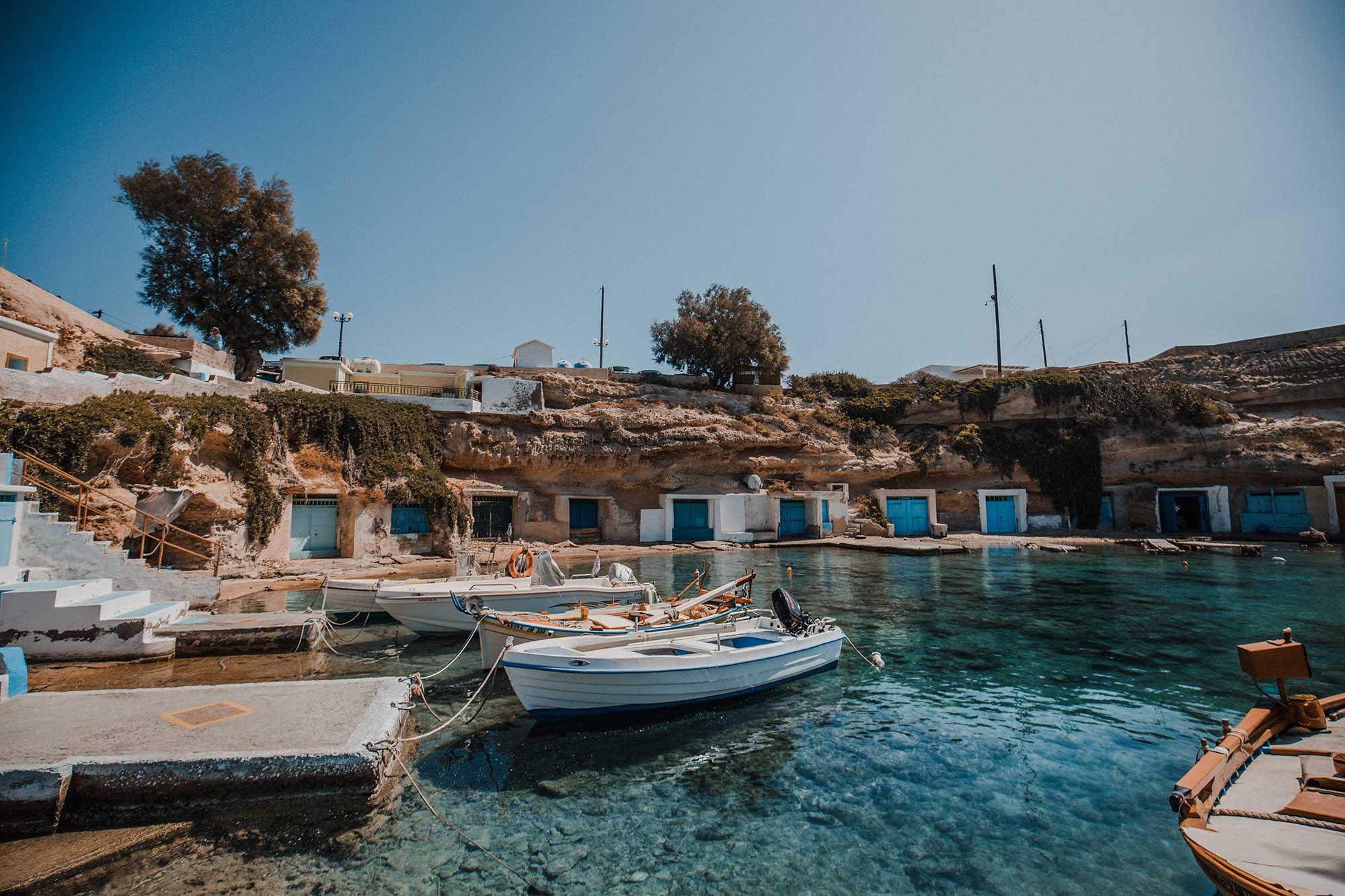 7 Best Beaches in Milos Greece | Milos Beach Guide - Dana Berez Greece Travel Guide. Mandrakia Beach Greece