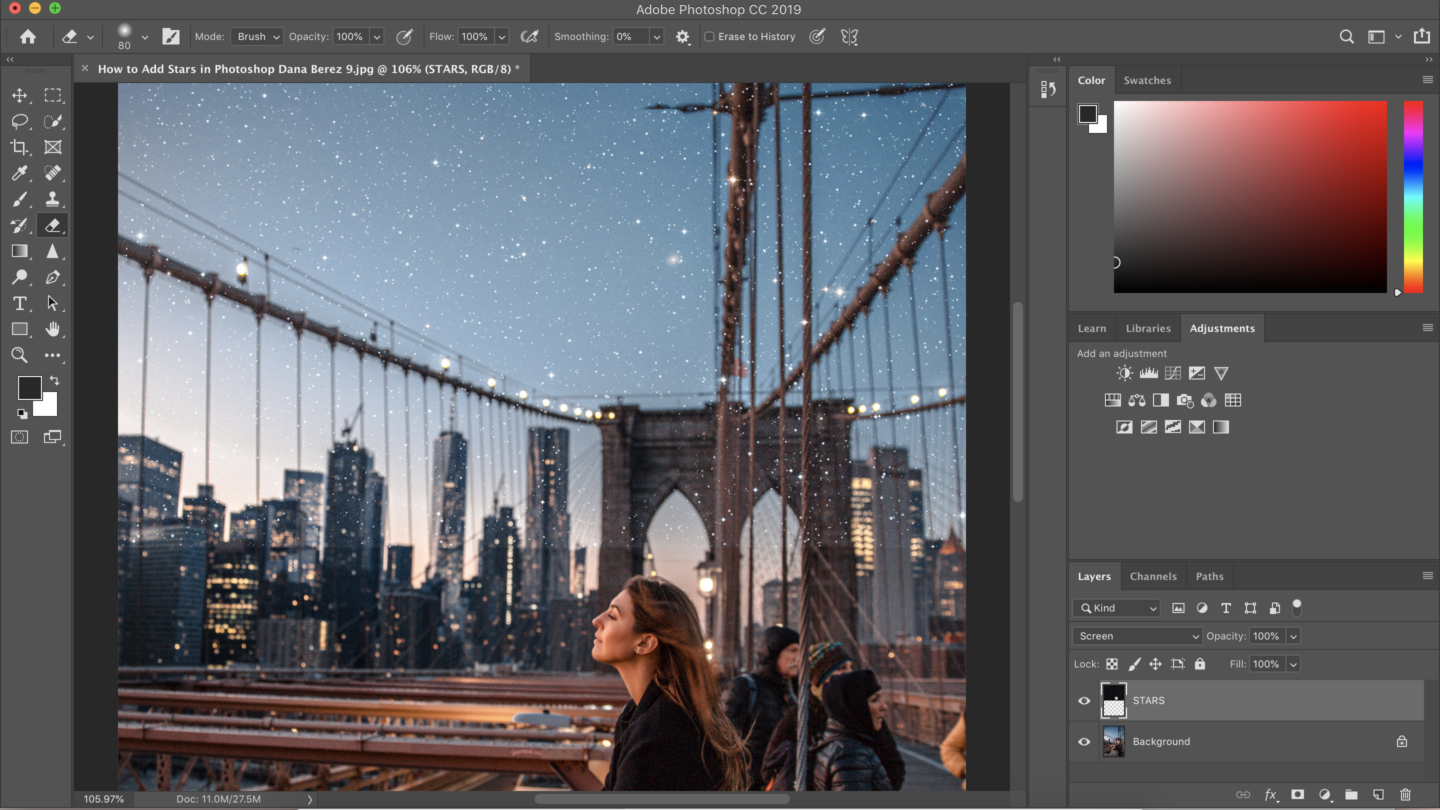How to Add Stars easily in Photoshop Tutorial. Beginner photoshop tutorial.