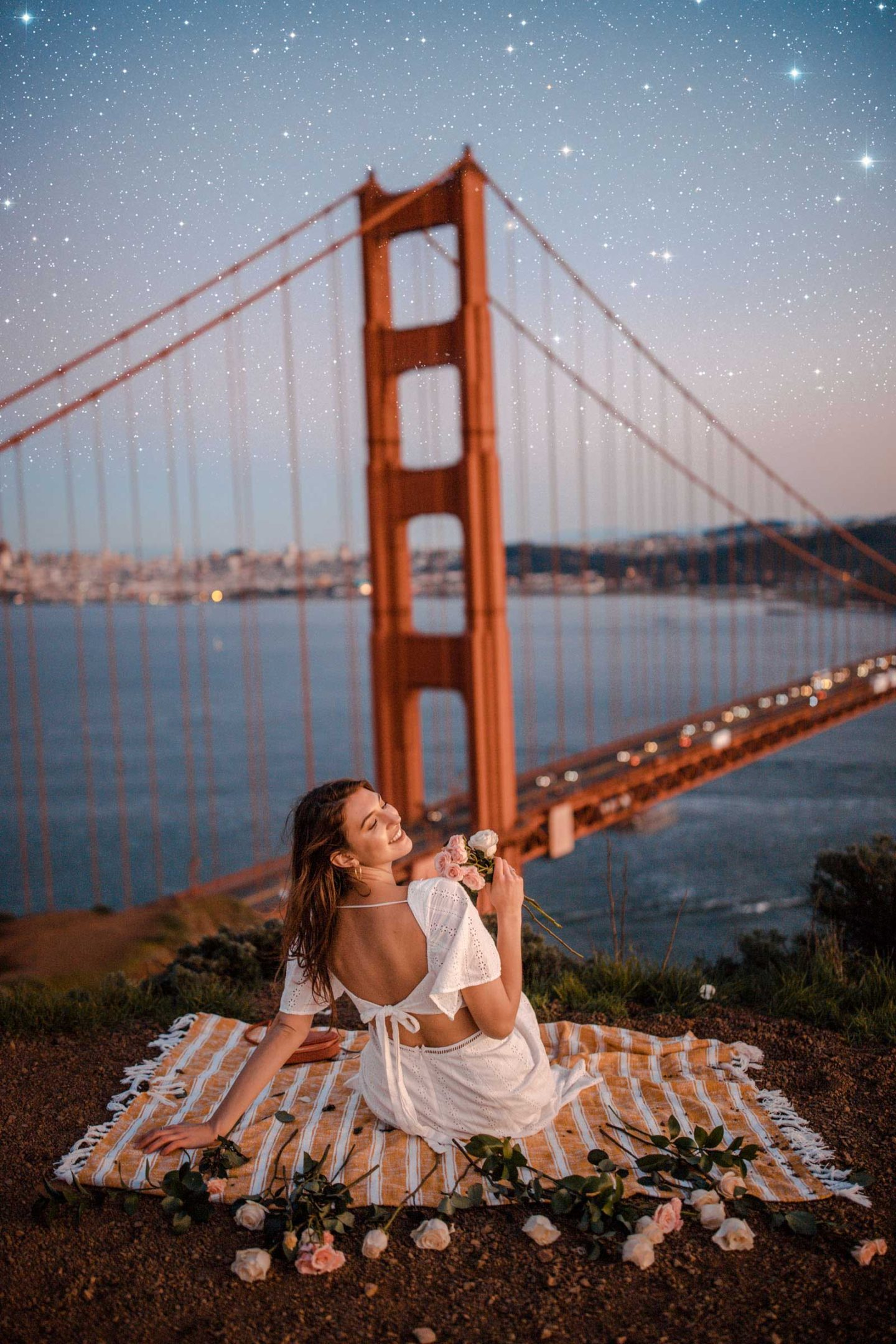 Easy photoshop tutorial. How to add stars quick in photoshop. San Fransisco Golden Gate Bridge Sunset